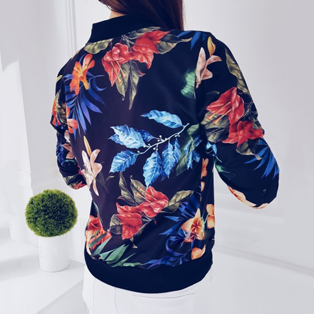 Fashion Flower Leaves Print Jacket Long Sleeved Zipper Coat  2