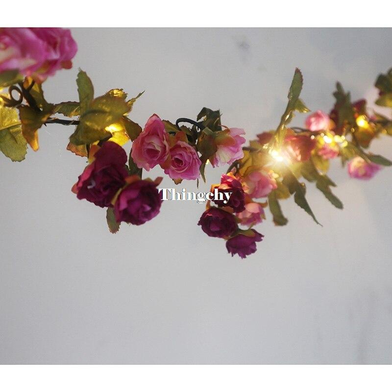 1.7 m pouco rosa flor bateria fio
