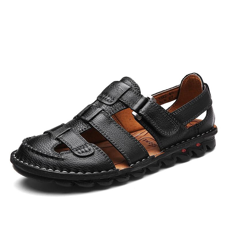 Comfortable Handmade Sandals Men Sandals Genuine Leather Soft Summer Men's Shoes Retro Sewing Casual Beach Shoes Big Size 38-46