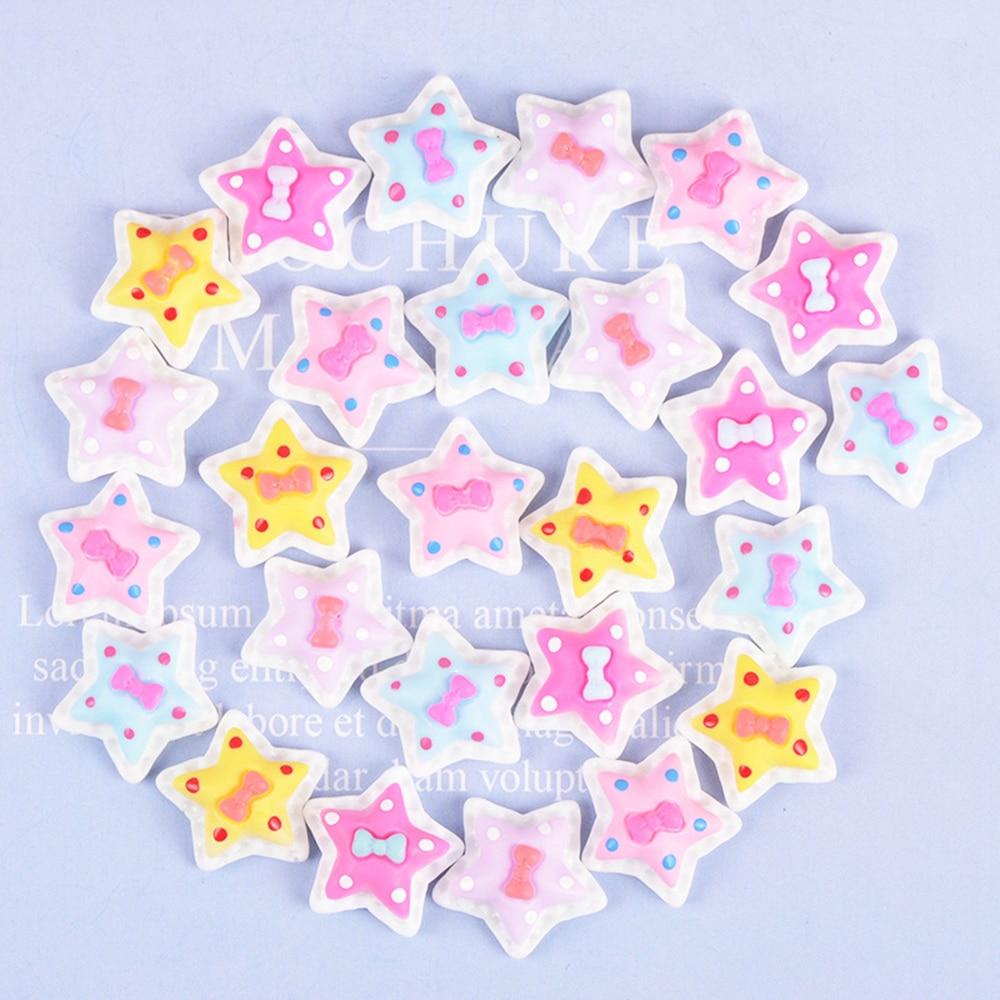 10 Pcs Cream Cartoon Pentagram Slime Clay Accessories Toys Handmade Resin Earring Pendant DIY Hair Accessories