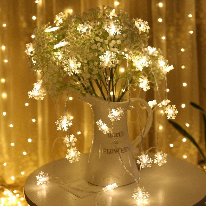 floco de neve luz da corda decoração