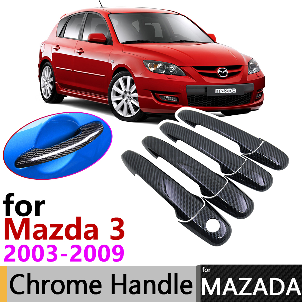 Black Carbon Fiber Door Handle Cover For Mazda 3 BK Sedan Hatch MPS 2004~2009 2007 2008 Car Accessories Stickers Trim Set Chrome