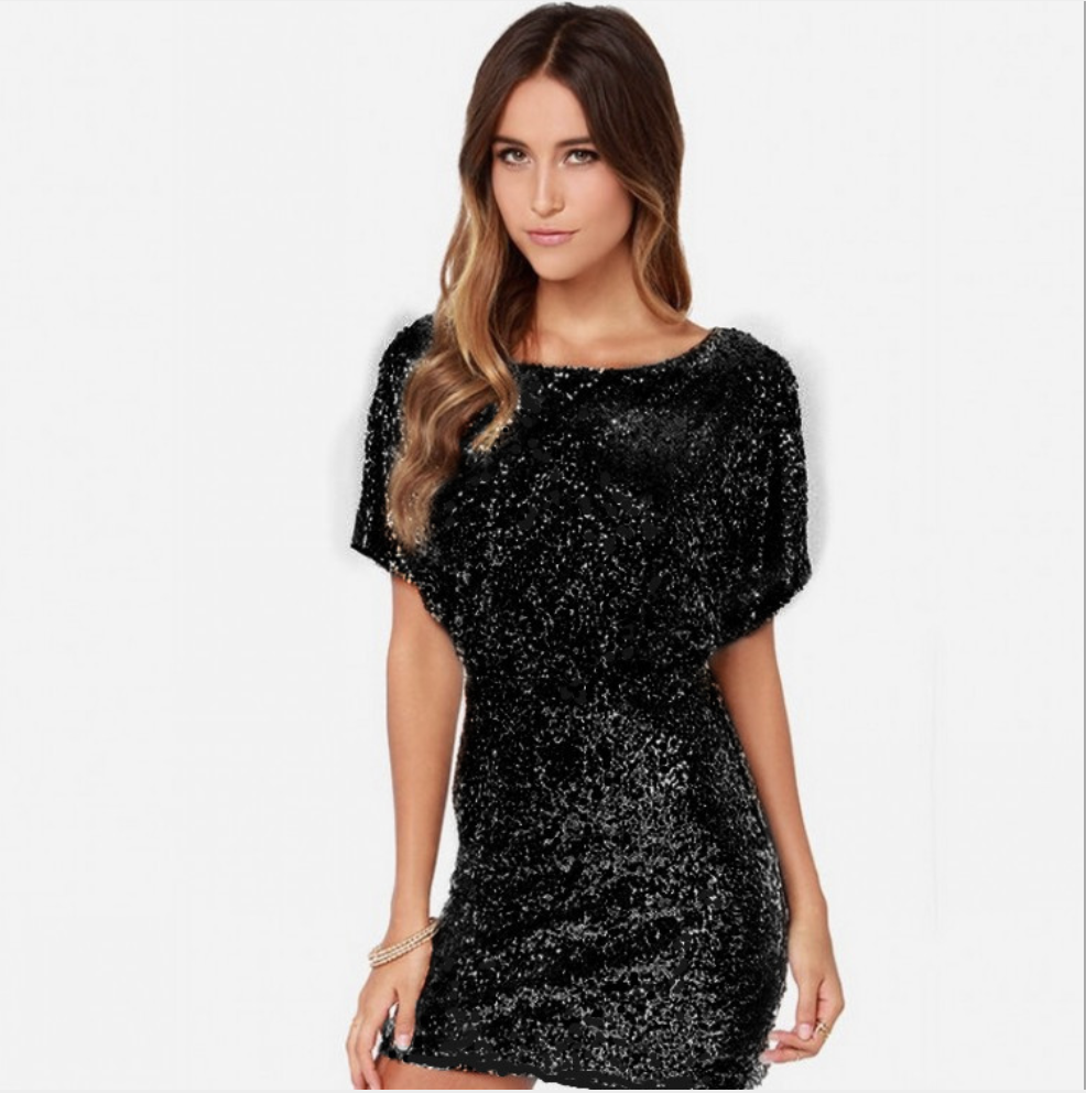 Image 5 - Sexy Sequins Evening Party Dress Shiny Gold Short Club Disco  Dress High Quality Vestido de Fiesta Noche Robe Abendkleid HX  6060Dresses