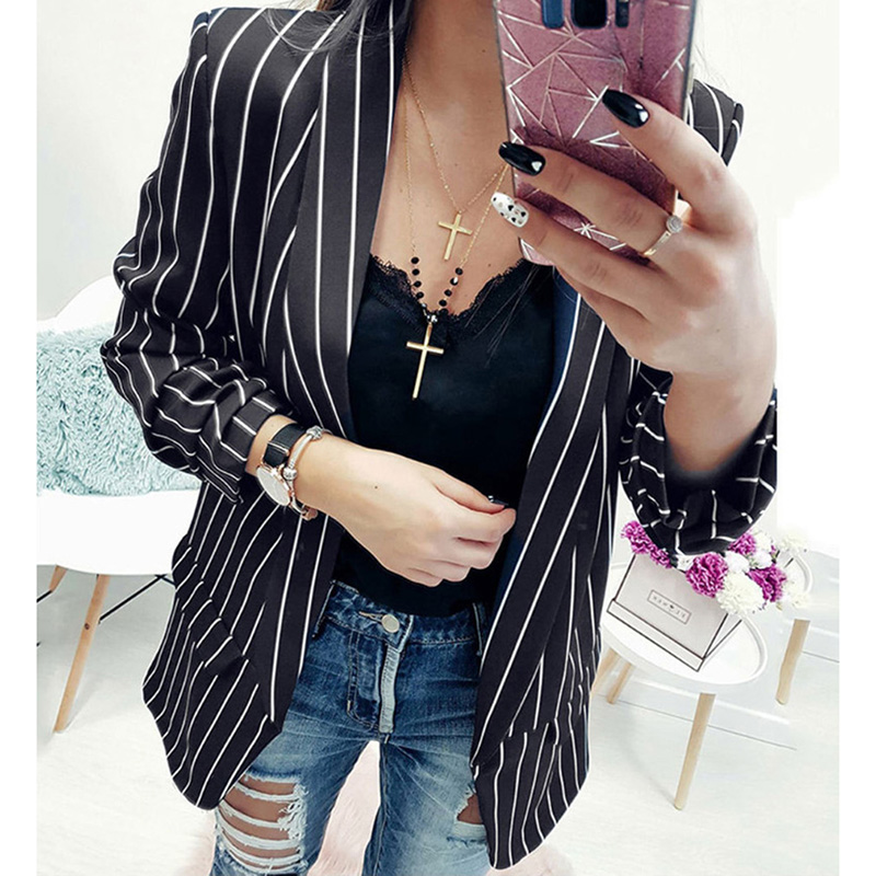Striped Blazer Coat Casual Business Outerwear For Women Open Stitch Blazer Jackets Ladies Notched Suit Spring Autumn Clothing