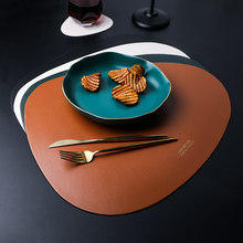 Creative Leather Placemat Oval Dining Table Mat Gold Plated Letter Waterproof Non Slip Pad Soft Insulation Pads Desktop Decor(China)
