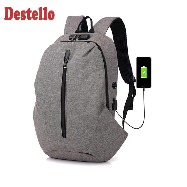 male shoulder backbag fashion laptop bag school backpack Usb charging port large capacity business travel backpack mochila