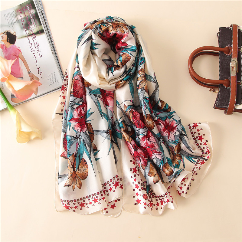 2019 Classic women silk scarf female scarves ladies beach wrap chiffon shawl floral Printed sunscreen bandanna foulard muffler