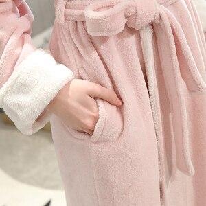 Image 5 - Women Winter Plus Size Long Flannel Bathrobe Kimono Warm Pink Bath Robe Night Fur Robes Bridesmaid Dressing Gown Men Sleepwear