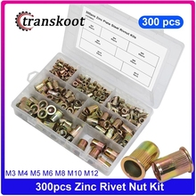 300pcs Rivet Nuts Threaded Rivets Insert Sleeve Nut M3 M4 M5 M6 M8 M10 M12 Zinc Plated Carbon Steel Rivnut with Box