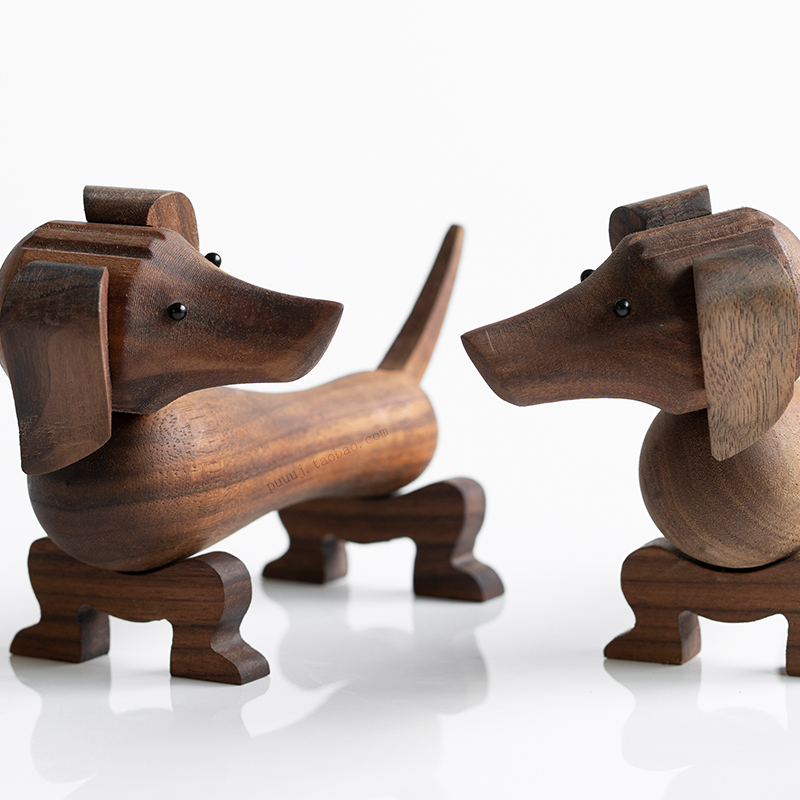 Handmade Wooden Dachshund Dog Figures Kids Room Bedroom Living Room Home Decoration Accessories Ornaments Holiday Gift Toys