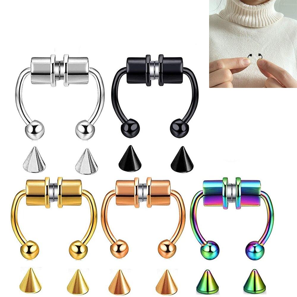 Модный фальшивый нос кольцо обруч магнитной подковообразные кольца 316L из нержавеющей стали для пирсинга перегородки носа кольца пирсинг и...