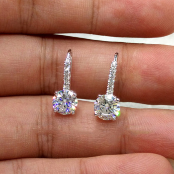 Simple Dazzling CZ Crystal Circle Round  Plata Stud Earrings for Women Oorbellen Brincos Pendientes silver color jewwlry Gift 1