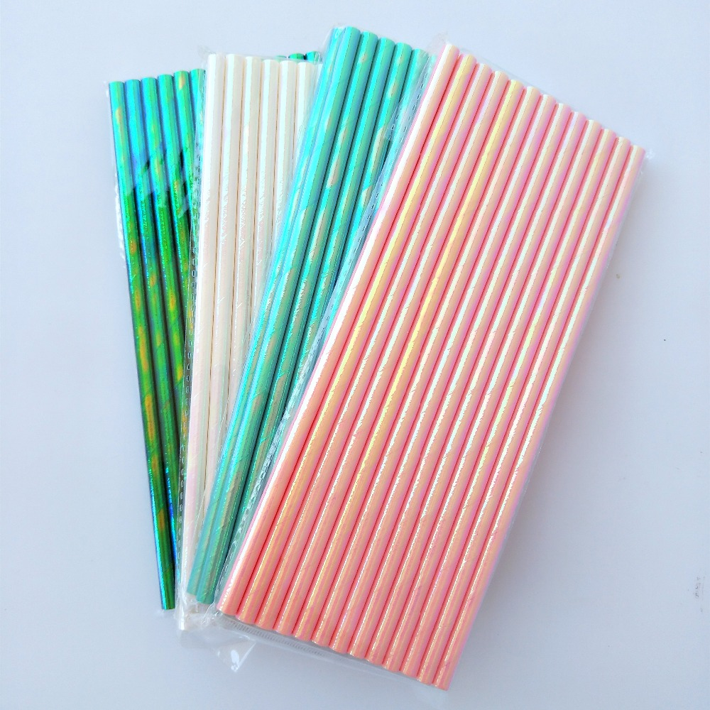 300pcs Lustre Paper Straws Iridescent Pink White Opal Luster Sheen Gloss Unicorn <font><b>Princess</b></font> <font><b>Party</b></font> Decor Straws Cakepop Craft Stick image