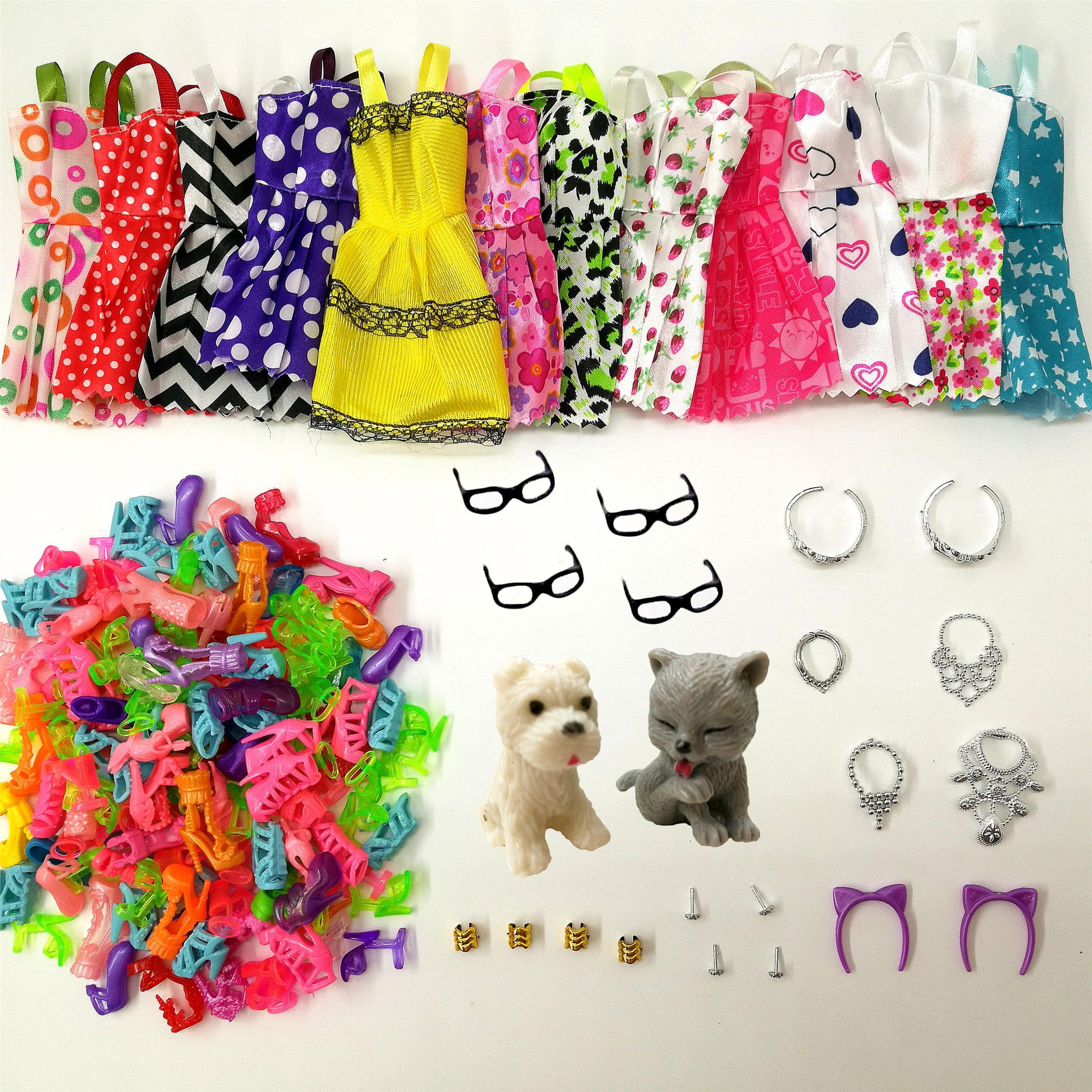 34 Item/Set Doll Accessories = 8pcs Shoes + 4 Necklace 4 Glasses 2 Crowns 2 Doll Pet + 8 Pcs Doll Dress Clothes For Barbie Doll