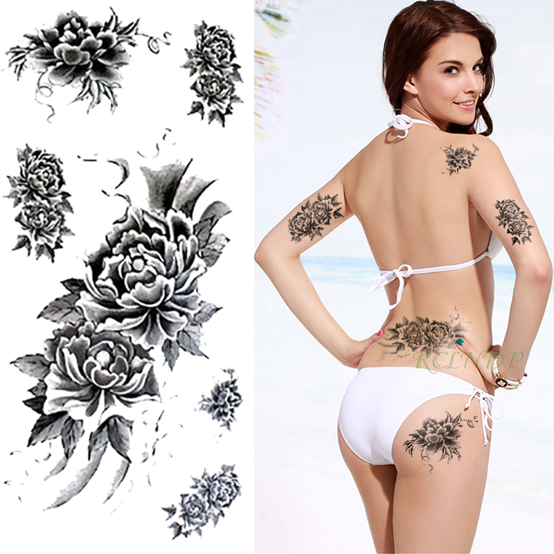 Waterproof Temporary Tattoo Sticker Peony Totem Fake Tatto Flash Tatoo Henna Back Leg Arm Hand Foot Tatouage For Girl Women Lady