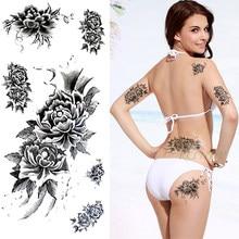 Водонепроницаемый Временные татуировки стикер пион Тотем поддельный тату флэш-тату хна задняя нога рука татуаж для девушек женщин леди