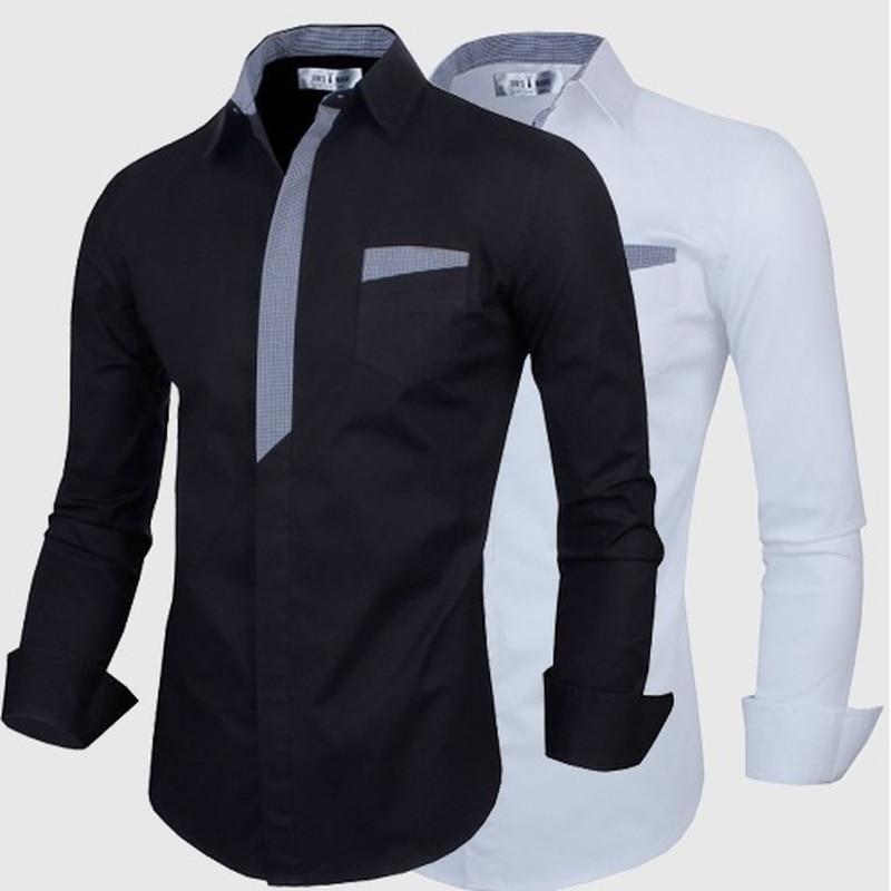 ZOGAA Men's Business Shirt Men Casual Slim Fit Button Down Shirt Patchwork Pocket Long Sleeve Formal Dress Shirts Male Clothing