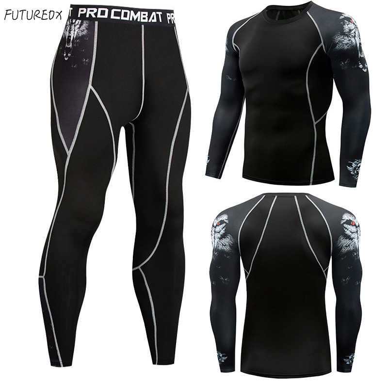 New Juvenile Wolf Head Men's Thermal Underwear Set Compression Shirt T-shirt Sweat Quick-drying Men's Fitness Sportswear Suit