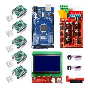Image 2 - CNC 3D Printer Kit for Arduino Mega 2560 R3 + RAMPS 1.4 + LCD 2004 +A4988 Stepper Driver
