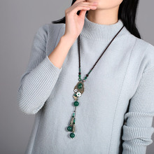 Agate Sweater Chains Ethnic Necklace Long Chain Vintage Accessories Chinese style Jewelry Fashion Hanging Ornaments