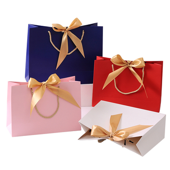 gift bag Gold Present Box For s Clothes Books Packaging Gold Handle Paper Box Bags Kraft Paper Gift Bag With Handles Dec
