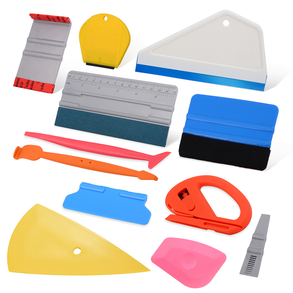 FOSHIO Car Wrap Vinyl Squeegee Tools Kit Magnet Squeeze Scraper Carbon Fiber Film Install Tool Window Sticker Tint Wrapping Tool|  - title=