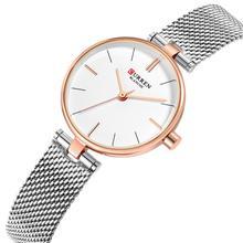 CURREN Women Watches Silver Stainless Steel Wrist Watch Classic Fashion Water Resistant Quartz Relogios Femininos Hardlex