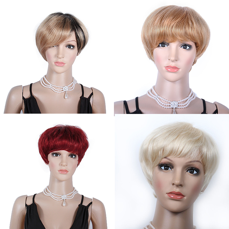 Short Human Hair Wigs 13x4 Blonde Lace Front Wig Brazilian Remy Machine Made Wig Ombre Colored Hair Wigs 150 Density WoWEbony