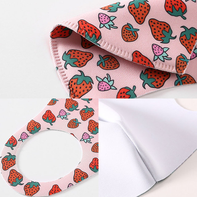 Strawberry Pattern Ice Silk Fabric Womens Mask for Sun Trendy Fashion Printing Mouth Face Masks Solid Mouth-muffle Unisex Korean 5