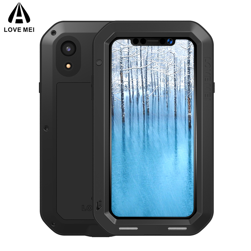 LOVE MEI Aluminum Metal Case For iPhone XR Cover Powerful Armor Shockproof Life Waterproof Case For iPhone XR 2018 Outdoor Cover