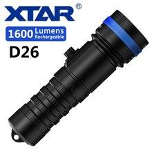 XTAR D26 1600 Đèn pin lặn CREE XHP35 HI D4 1600 Lumen tia khoảng cách 432 Mét Công tắc Từ đèn pin 100 đồng hồ lặn độ sâu