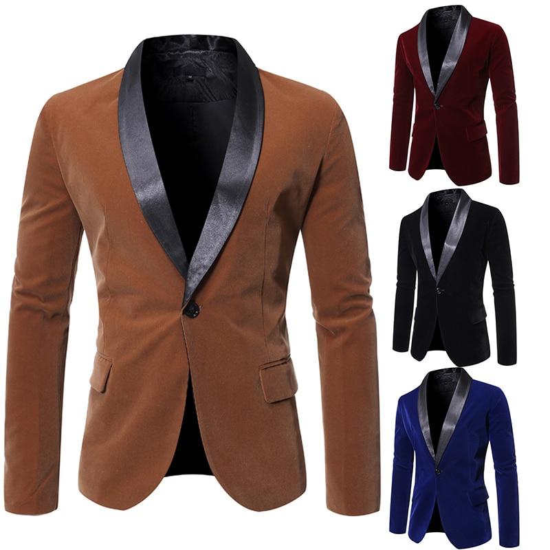 Winter Corduroy Suit Blazer Men Fashion England Style Lapel Slim One Button Jacket High Grade Solid Color Business Casual Coats