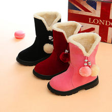 Boots 2019 autumn and winter new girls boots children toddler children warm red princess snow boots baby Christmas shoes(China)