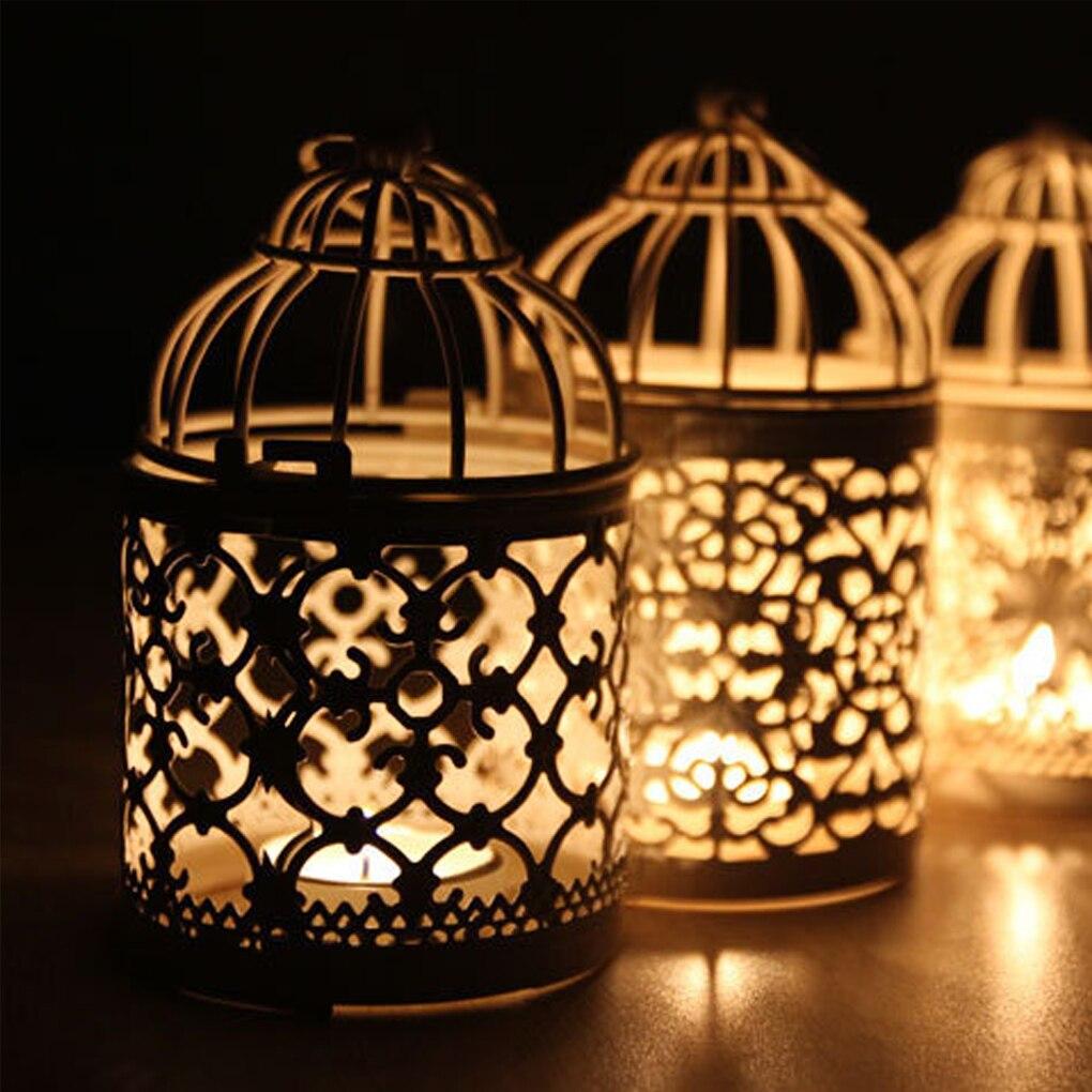 Birdcage Candlestick Creative White Metal Tealight Candle Holder Wedding Centerpieces Tables Iron Holder Home Decor