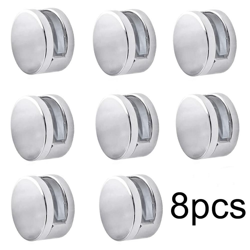 8 шт., 22 мм/27 мм, круглый стеклянный зажим из цинкового сплава для зеркала в ванной, плотные зажимы, держатель, фурнитура для дверей