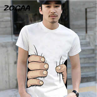 ZOGAA 2020  new summer men's short sleeve T-shirt  Korean version of 3D hand whimsy half sleeve tide a generation of hair