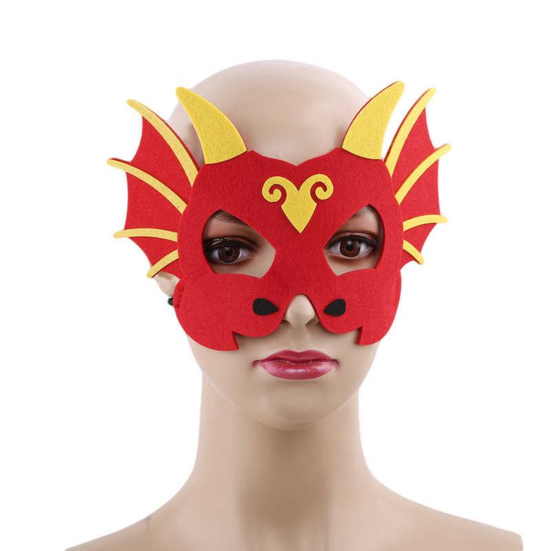 Baru 1 PC Wajah Anak Laki-laki dan Perempuan Masker Dinosaurus Masker Dino Bertema Ulang Tahun Halloween Kostum Properti Foto Naga pesta