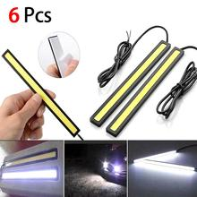 6X 12V Waterdicht Wit Drl Cob Led Strip Light Bar Voor Camping Caravan Boot Auto