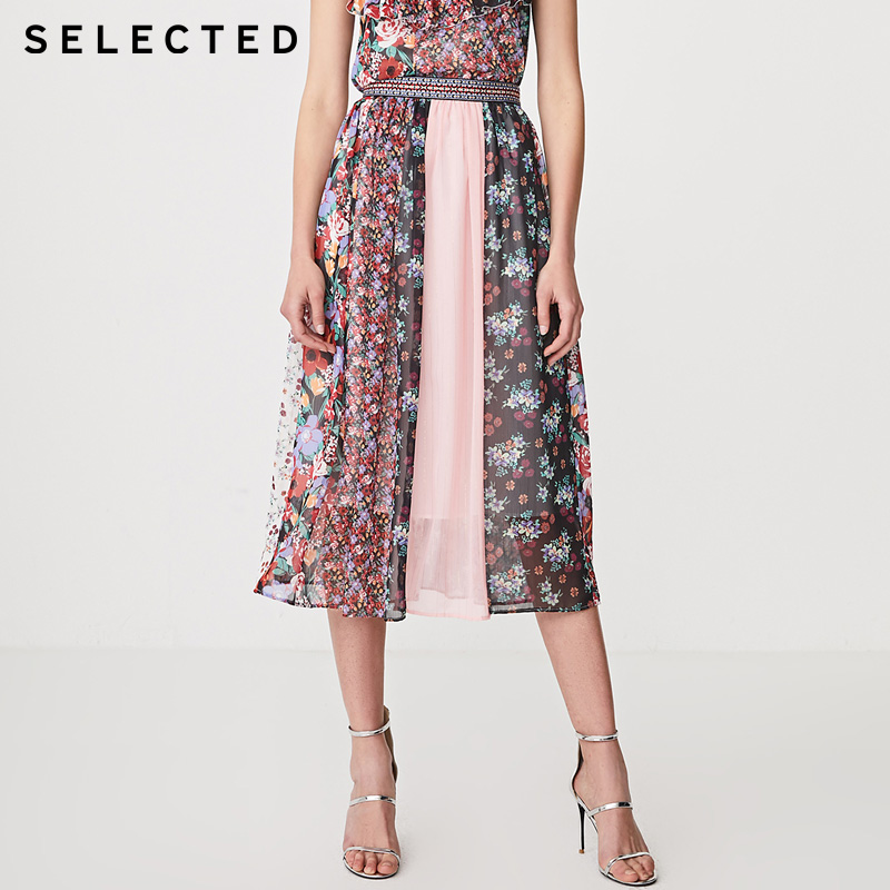SELECTED Womens Printed Spliced Chiffon Skirt | 41924C524