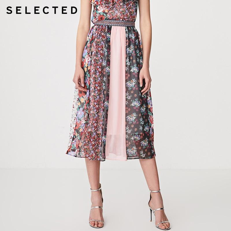 SELECTED Womens Printed Spliced Chiffon Skirt | 41924C524