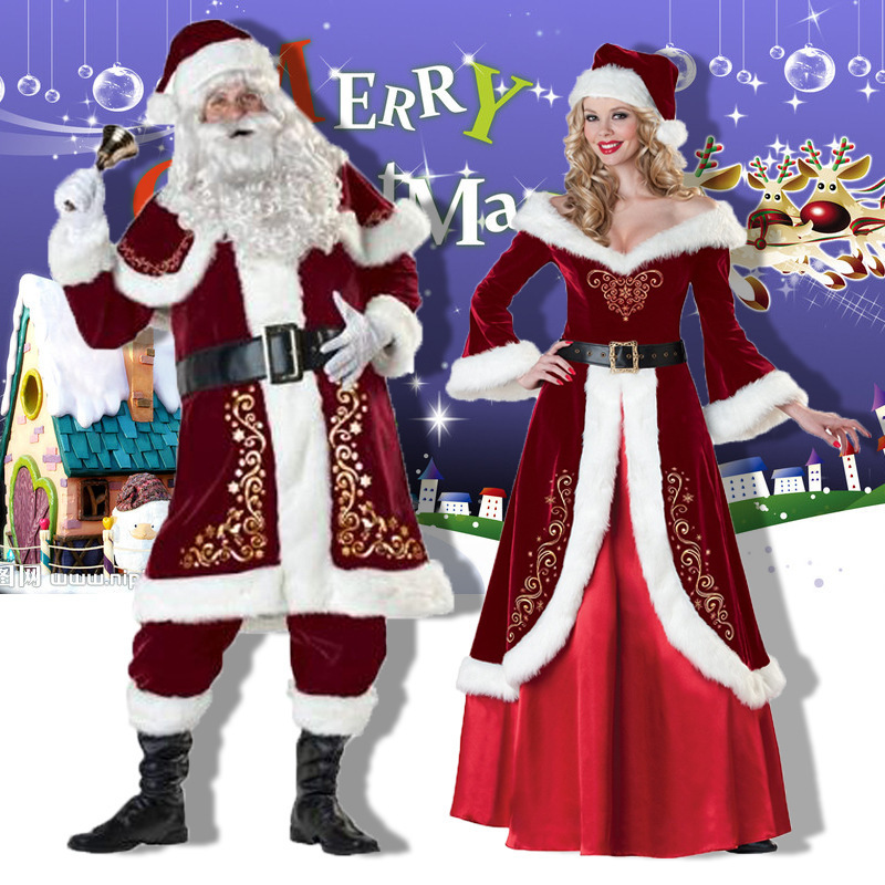 Christmas Santa Claus Costume Cosplay Party Santa Claus Deluxe Velvet Red Jacket Dresses For Adults Women Men New Year Man Cloth