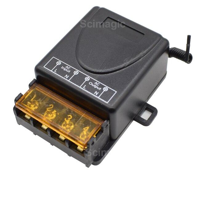 Interruptor de controle remoto sem fio, ac 85v 260v, ac 220v 110v, max 40a, módulo receptor de relé ampla tensão 433mhz ev1527