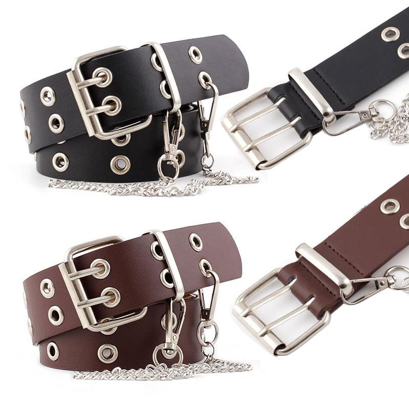 Women's Belt Female Punk Chain Fashion Belt Adjustable Metal Buckle Metal Chain PU Leather Black Double Eyelet Grommet Belt