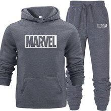 New Brand Marvel Hooded-hoodies for Autumn with Hip Hop Pocket Hoodies+pants 2PCS Hoodies and Sweatshirts Men Pink Black