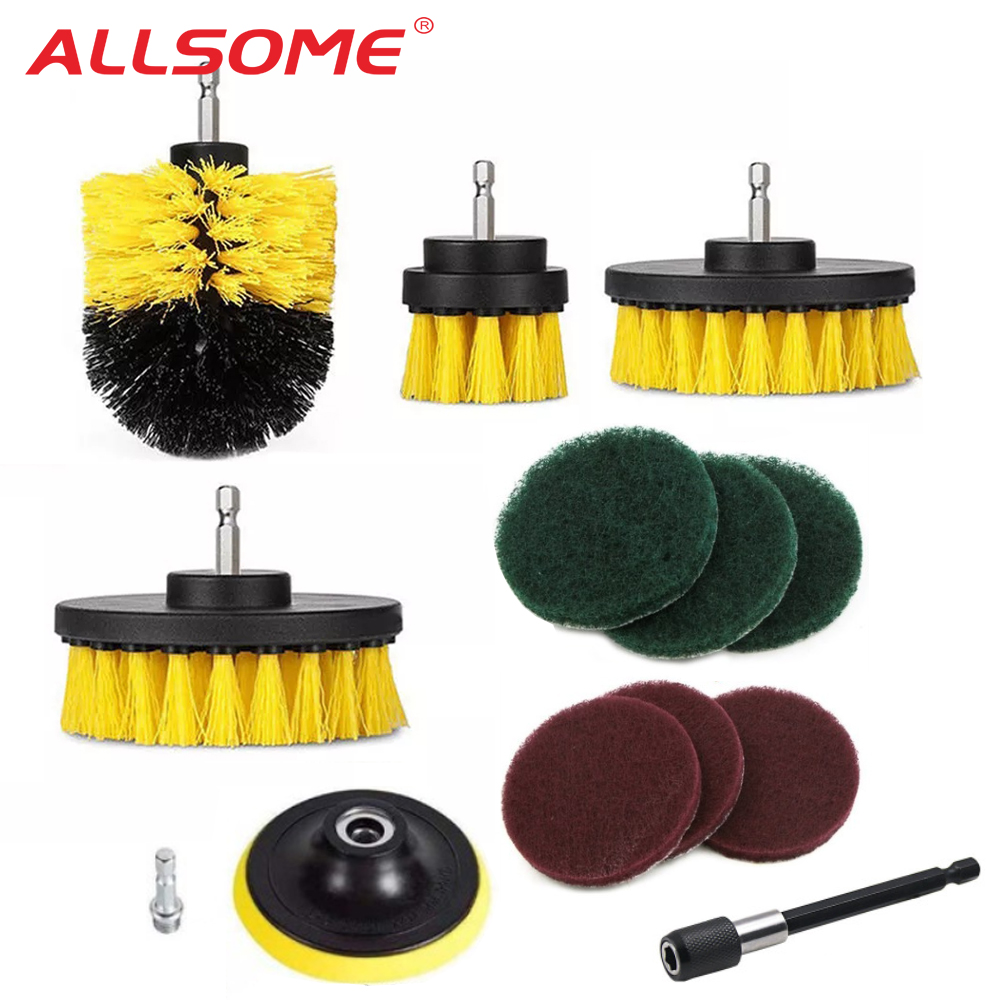 ALLSOME Brush Tub-Cleaner-Tools-Kit Drills-Scrubber Scrub-Pads Electric-Drill 12pcs Cleaning