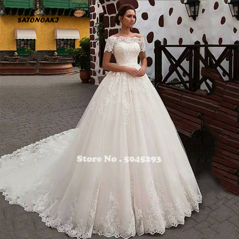 SATONOAKI Luxury Ball Gown Wedding Dress With Long Train Lace Applique Sexy Off The Shoulder Boat Neck Short Sleeve Bridal Gowns