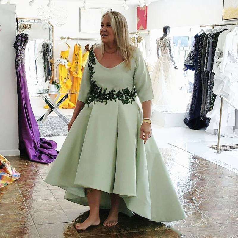 Mint Green Lace Satin High Low Mother Of The Bride Dress Plus Size Half Sleeve Scoop Neck Evening Prom Wedding Party Gowns