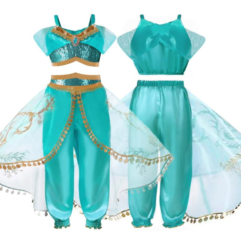 Kids Aladdin Cosplay Costume Princess Jasmine Outfit Set Party Girls Fancy Dress Princess Jasmine Top + Pants Two Piece Set