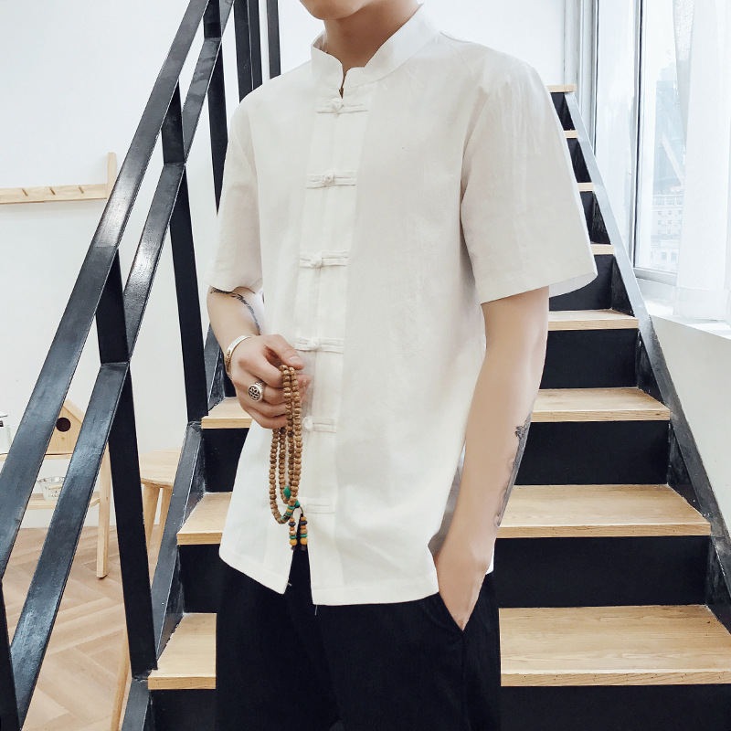 2019 Chinese-style Summer Wear New Style Men Flax Casual Frog Shirt Retro Fashion Cotton Linen Short Sleeve Shirt Men's