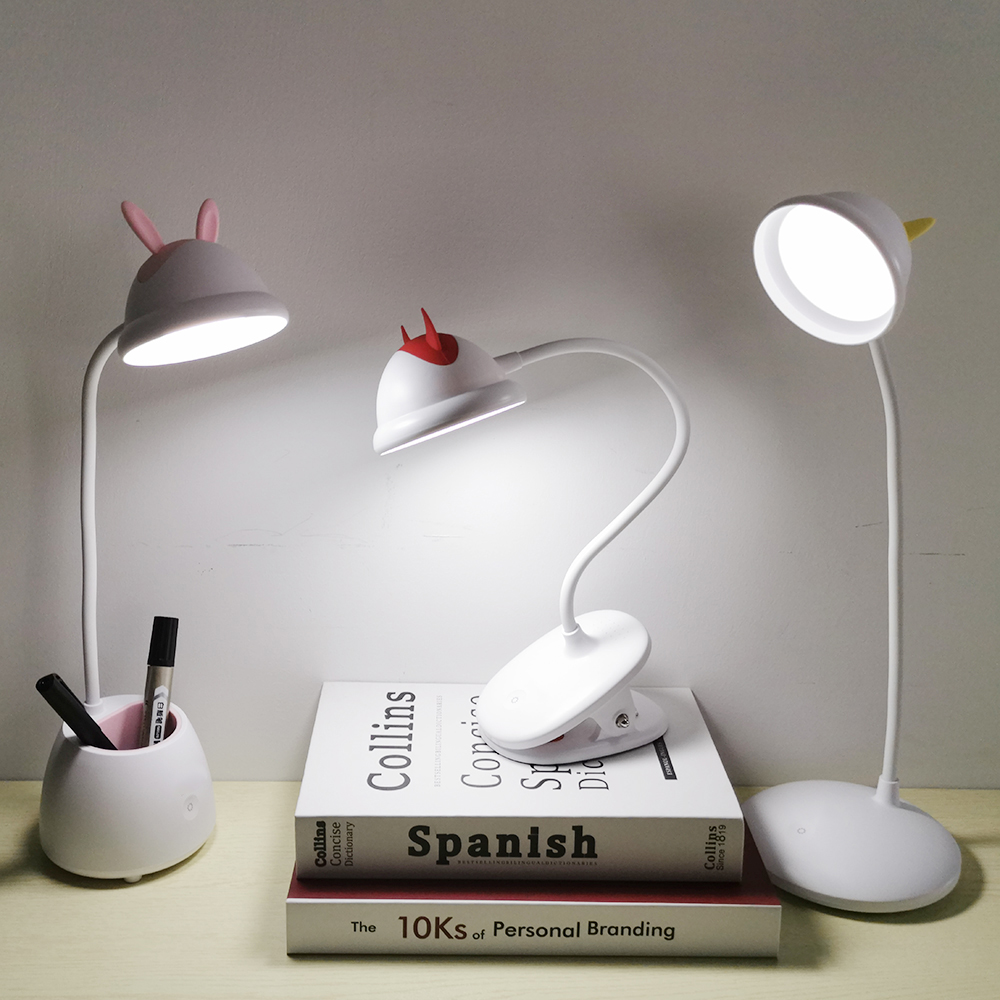 Flexible Table Lamp Cartoon Desgin USB Rechargeable Desk Lamp With Eye-protection Lights Touch Switch On/Off 3 Dimmer Desk Light
